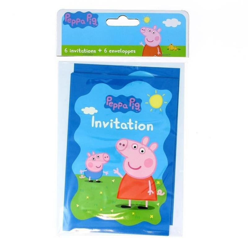 6 Cartes d'invitation Peppa Pig