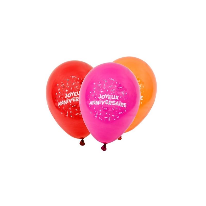 8 ballons joyeux Anniversaire Multi-color