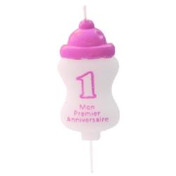 bougie mon 1er anniversaire - rose