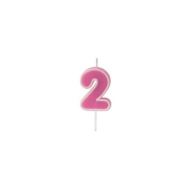 Bougie anniversaire rose sur pique 2 ans