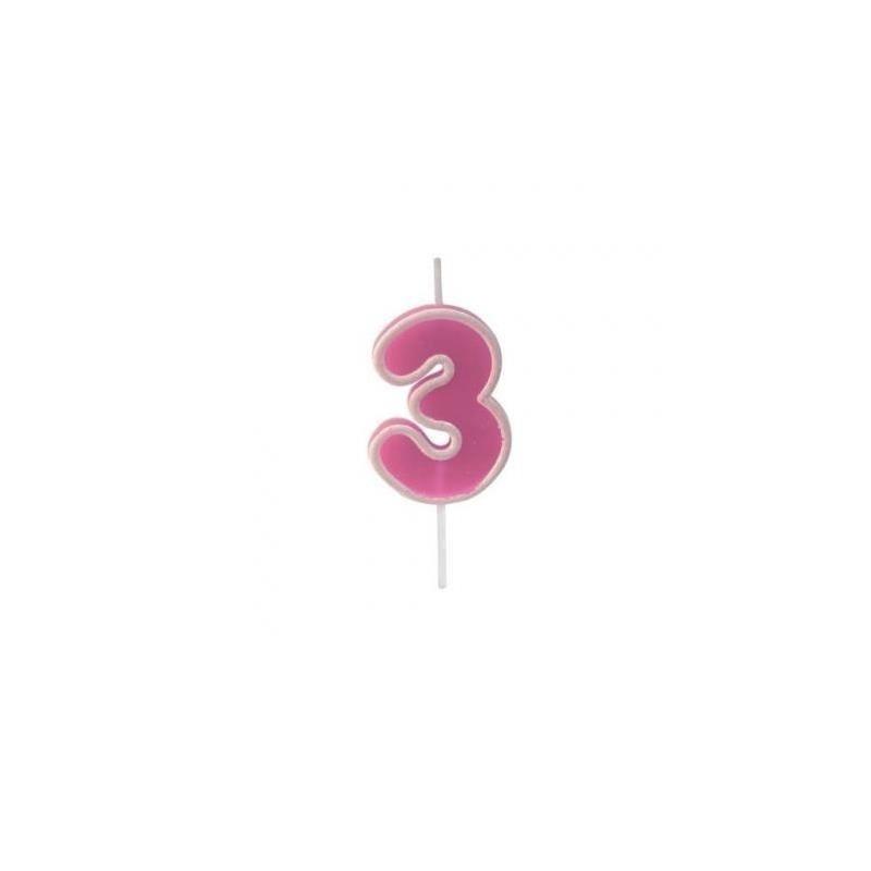 Bougie anniversaire rose sur pique 3 ans
