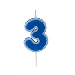 Bougie anniversaire bleu sur pique 3 ans