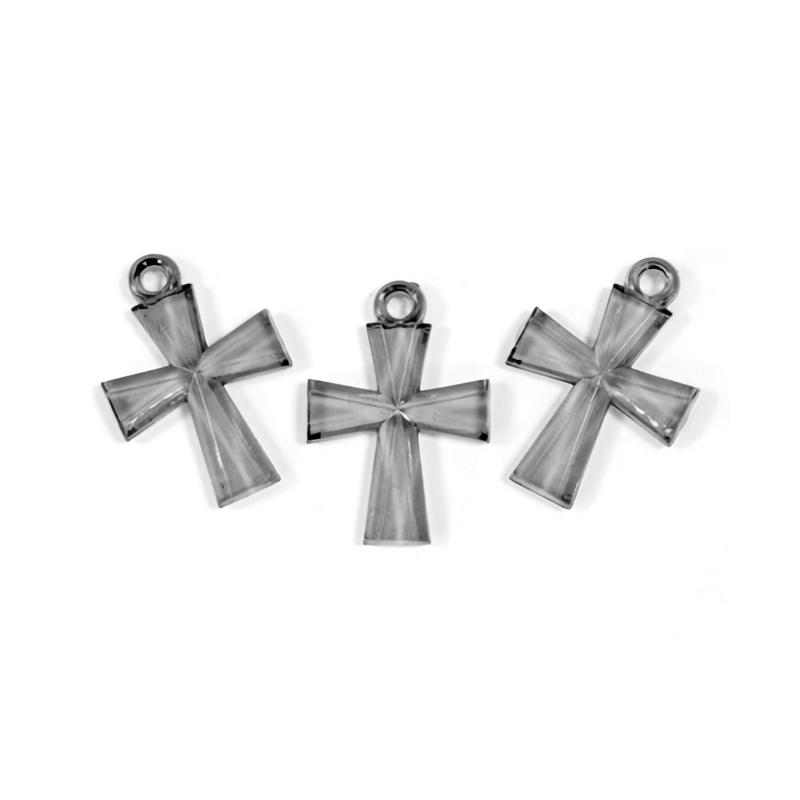 Croix translucide argent