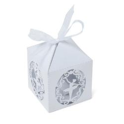 10 Boites à dragées danseuse blanc irisé