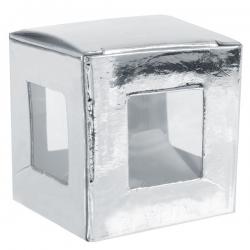Boîte carrée métallisée Argent (Sachet de 6 pièces)