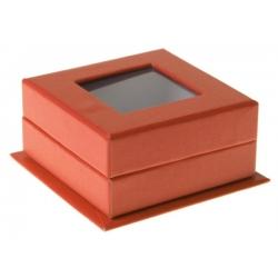 Boîte carrée à fenêtre orange (Sachet de 4 pièces)