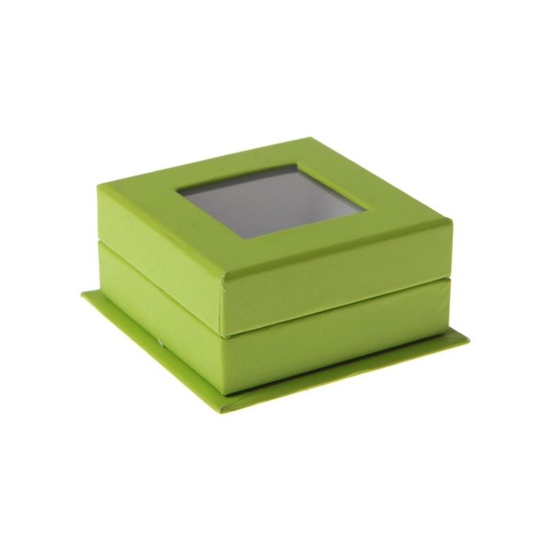 Boîte carrée à fenêtre Vert (Sachet de 4 pièces)