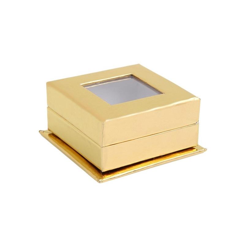 Boîte carrée à fenêtre Or (Sachet de 4 pièces)