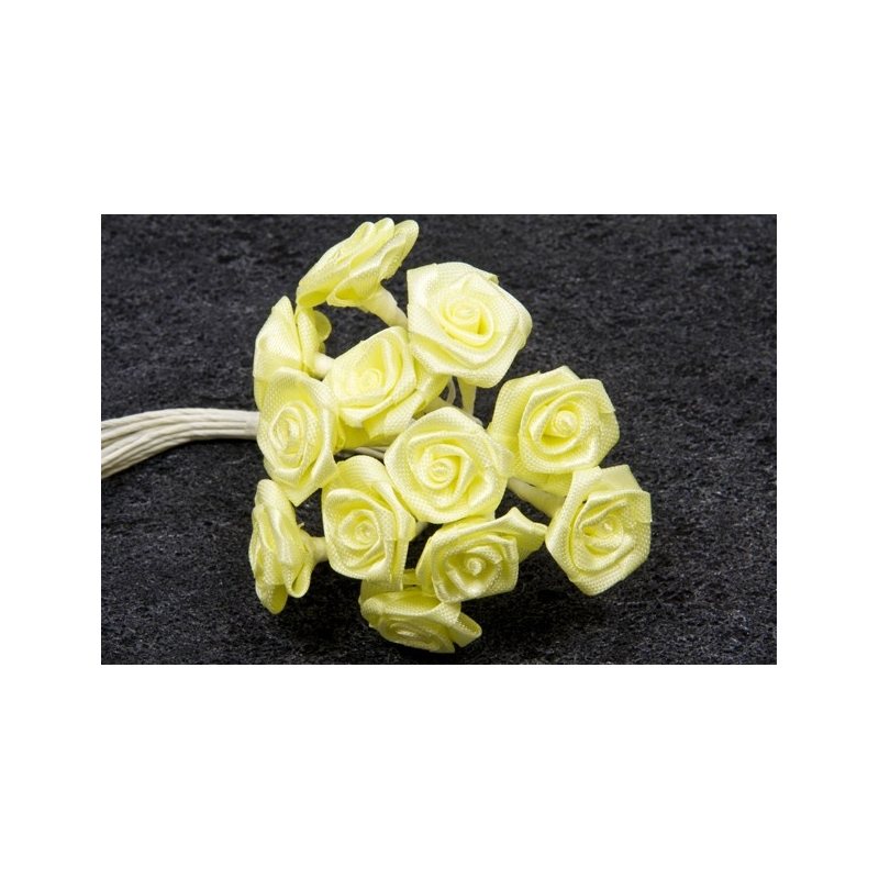 Mini-roses en satin Jaune vif