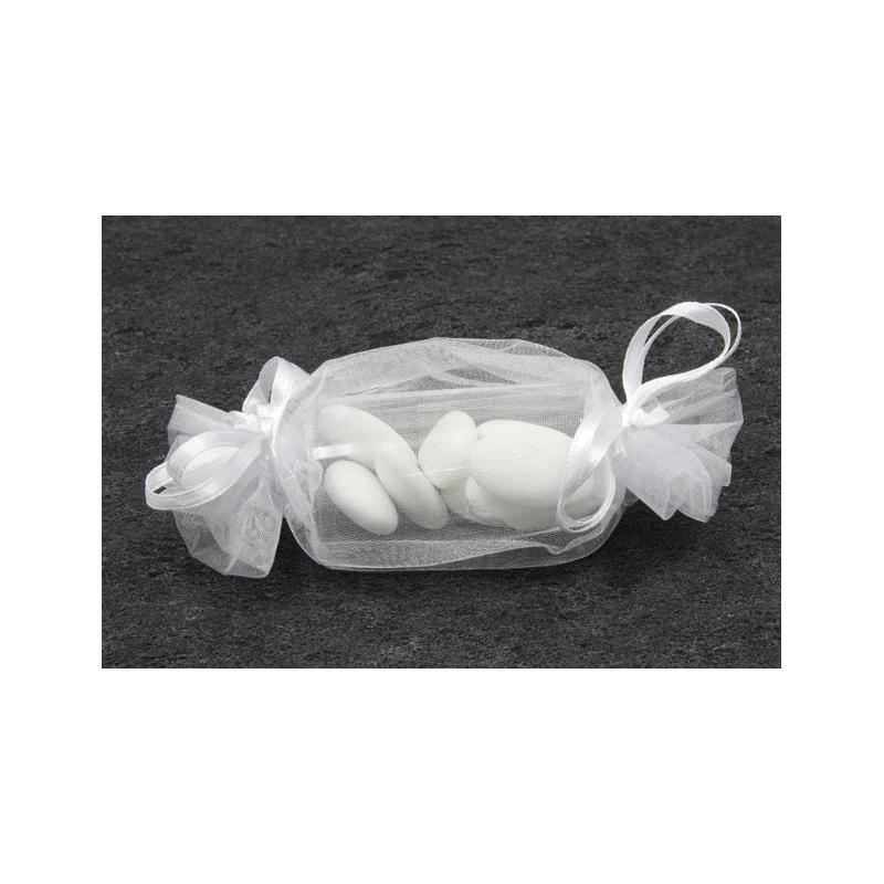 12 sacs organza en forme de bonbon blanc