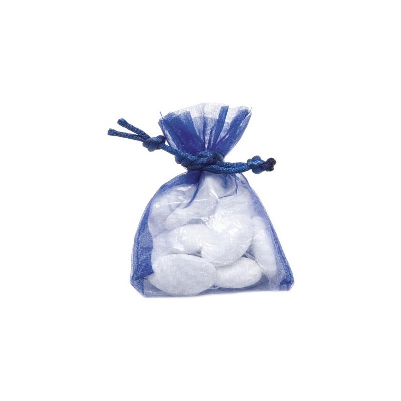 10 sacs organza bleu marine