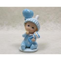Sujet en résine bébé mignon bleu