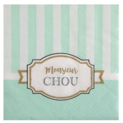 Serviettes baby Shower vert