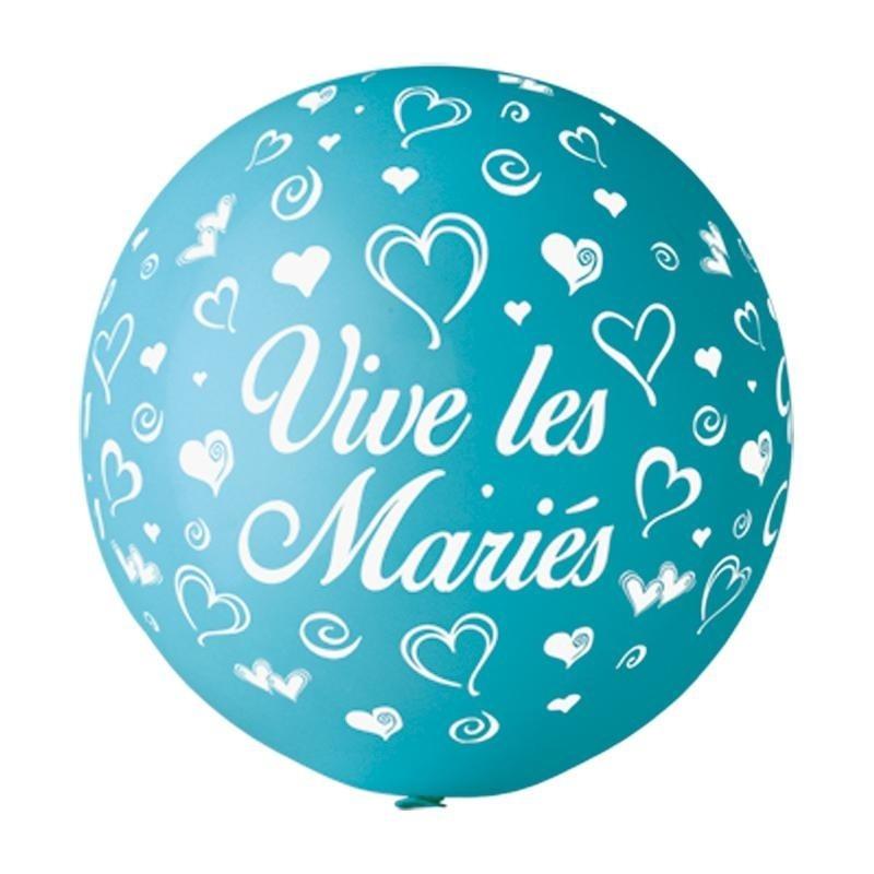 """Ballon imprime """"vive les maries""""  Turquoise"""