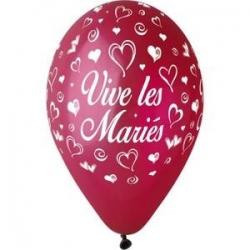 """Ballon imprime """"vive les maries""""  Rouge"""