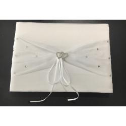 Livre d'or blanc avec stylo organdi et perles