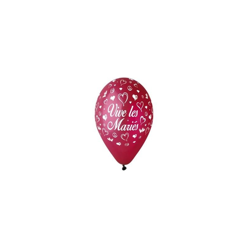 """Ballon imprime """"vive les maries""""  Bordeaux"""