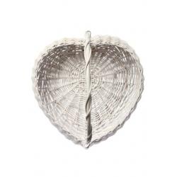 Panier en osier cœur blanc 30 cm