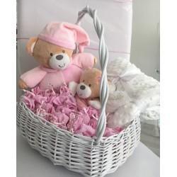 Panier naissance complet -Rose