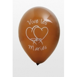"Ballon imprime ""vive les maries""  marron"