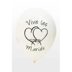 "Ballon imprime ""vive les maries""  blanc"