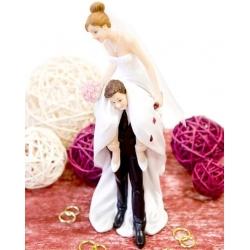 Sujet en résine - Couple mariés acrobates