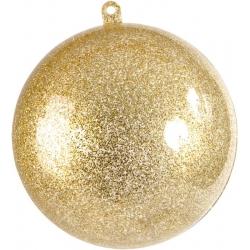 2 boules transparentes pailletées dorées