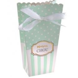 """Boites à dragées baby shower vert d'eau """"Monsieur chou"""""""