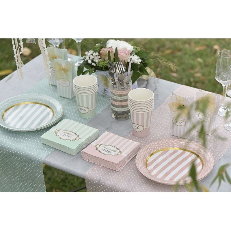 "10 Assiettes baby shower ""Mademoiselle Rose""."