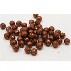 Boules deco pailletees   marron