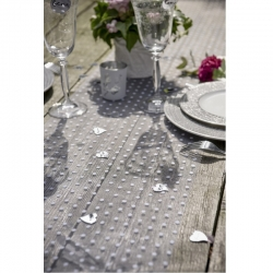 Chemin de table Plumetis blanc