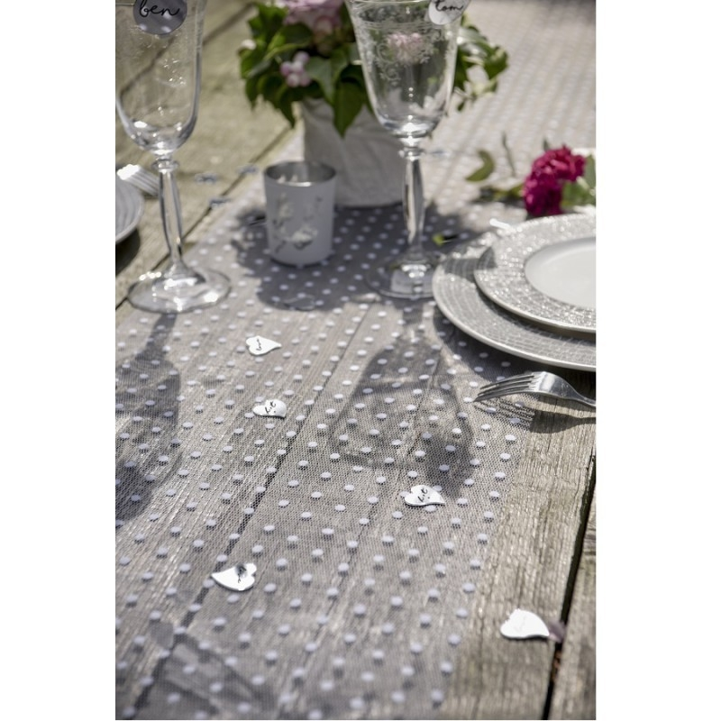 Chemin de table Plumetis blanc