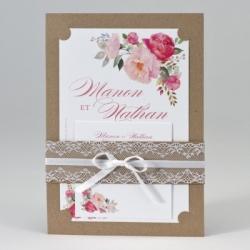 Faire-part mariage Kraft avec dentelles et fleurs