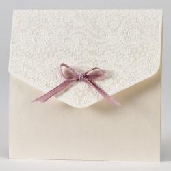 Faire-part dentelle en relief et ruban rose
