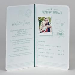 Faire-part passeport d'amour vert et or