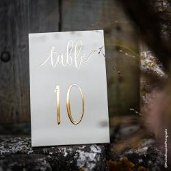10 marques-tables de 1 à 10 blanc et or