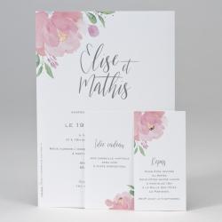 Faire-part avec fleurs rose et cartes d'invitation