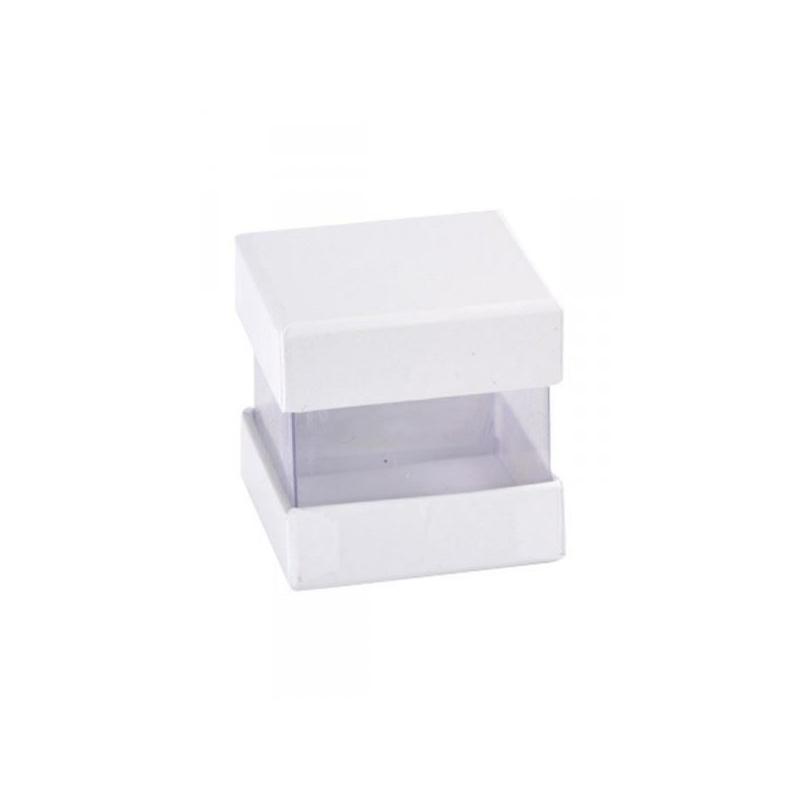6 boites a dragees en cube couleur blanc