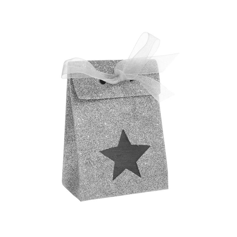 Boîte étoile pailletée Argent (Sachet de 4 pièces)