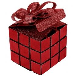 Boite cube  noel Rouge