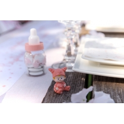 Figurine Baptême rose