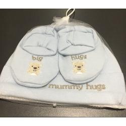 Ensemble bonnet et chaussons de naissance 0-3 mois
