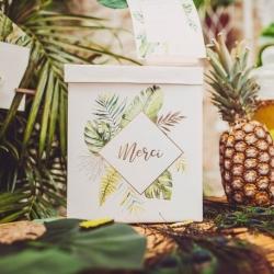 Urne tropical merci papier ivoire