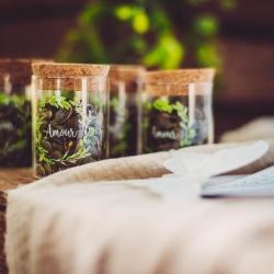 fiole amour couronne vegetale verre