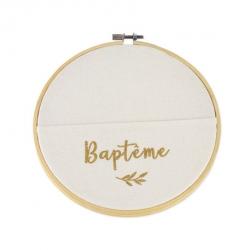 Cadre pochette végétale baptême