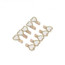 pinces coeur bois blanc paillettes or