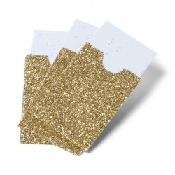 pochettes paillettes or et cartonnette blanche