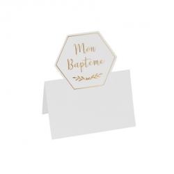 marque-places baptême papier texture embosse or