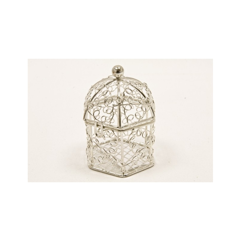 Mini cage oiseaux en metal- Argente