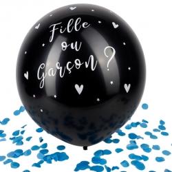 Ballon Géant noir fille ou Garçon Confettis bleus 60 cm